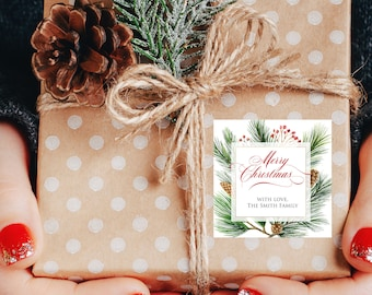 Christmas Gift Labels - Christmas Stickers Evergreen Christmas Labels Formal Christmas Gift Stickers Merry Christmas Pinecone Labels Square