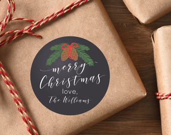 Christmas Gift Stickers Christmas Labels Holiday Gift Tags Chalkboard Pinecone Bough Personalized Christmas Stickers Round Gift Tags Custom