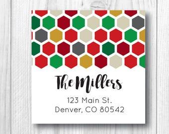 Return Address Labels Christmas Address Labels Holiday Address Labels Personalized Christmas Card Sticker Red Green Gold Honeycomb Sticker