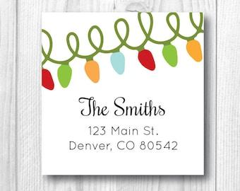 Return Address Labels Christmas Address Labels Personalized Holiday Address Labels Christmas Card Envelope Seal Christmas Lights Whimsical