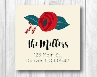 Return Address Labels Holiday Address Labels Christmas Address Labels Personalized Christmas Card Labels Red Floral Address Labels Rose