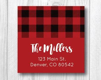 Buffalo Plaid Return Address Labels Holiday Address Labels Christmas Address Labels Personalized Christmas Card Red Black Plaid Sticker