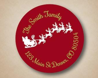 Christmas Return Address Label Red Address Label Flying Santa in Sleigh Custom Address Label Stickers Holiday Address Labels Christmas Cards