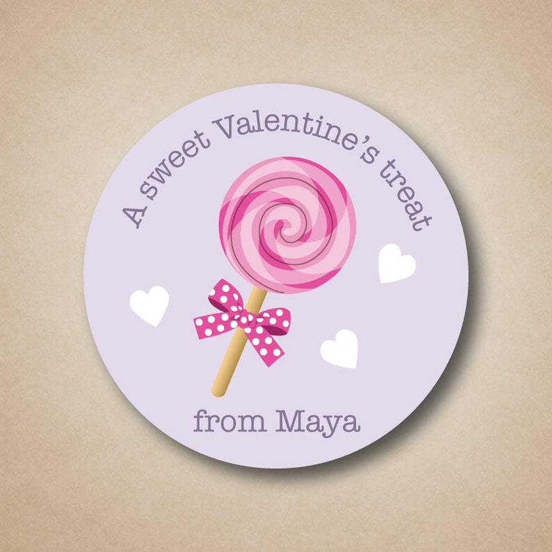 Personalized Valentines Day Stickers Girls Pink Purple Treat image 0