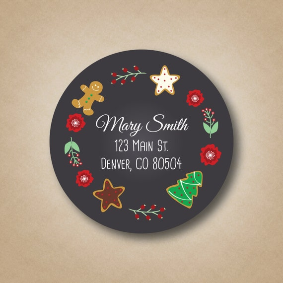 holiday return address label christmas cookies chalkboard stickers