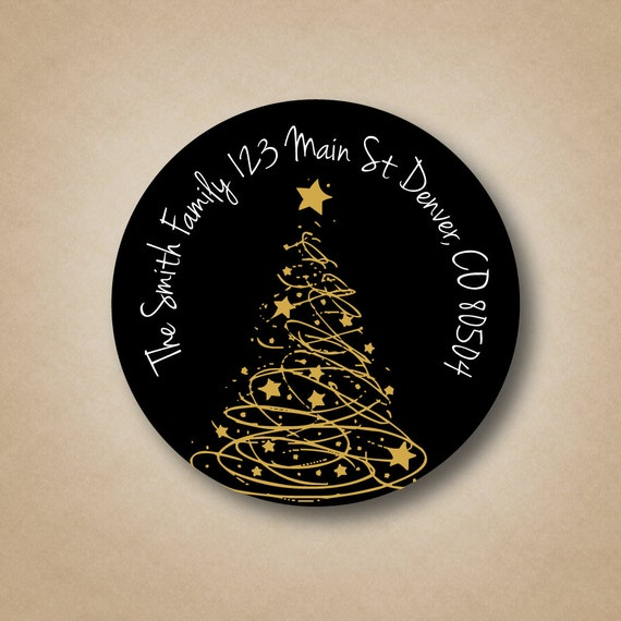 gold tree black address labels custom christmas address labels etsy