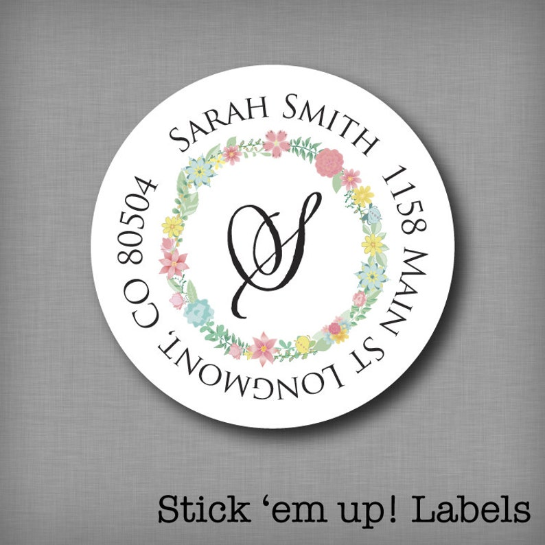 Return Address Labels Personalized Round Address Stickers image 0