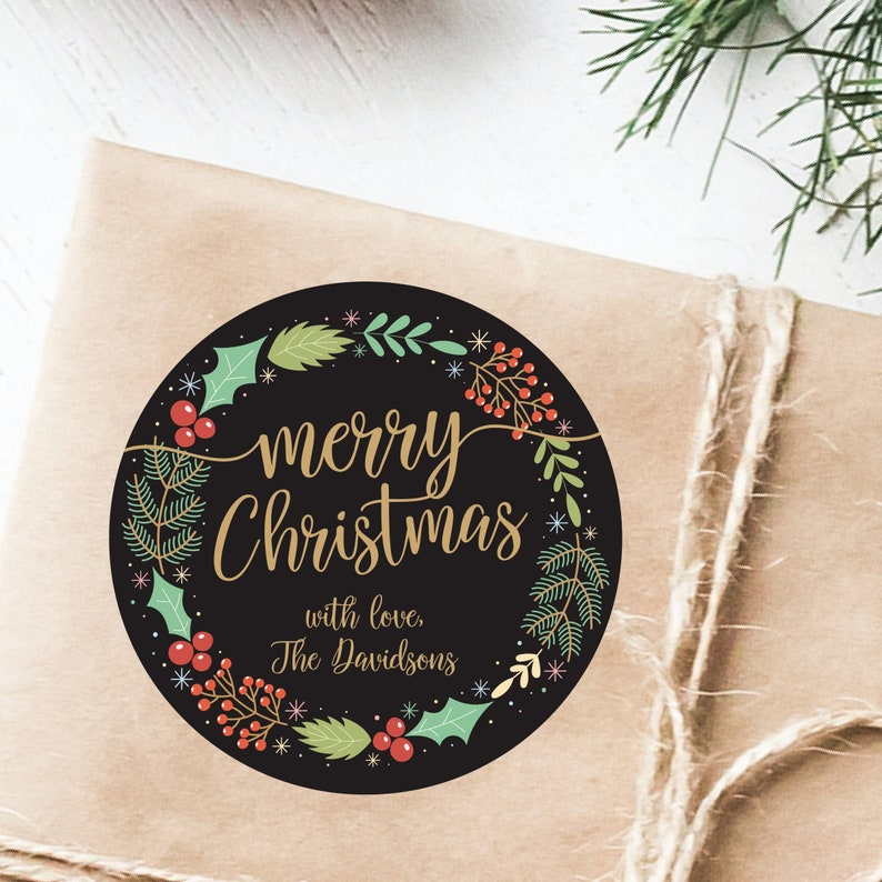 Christmas Gift Label Merry Christmas Sticker Christmas Gift image 0