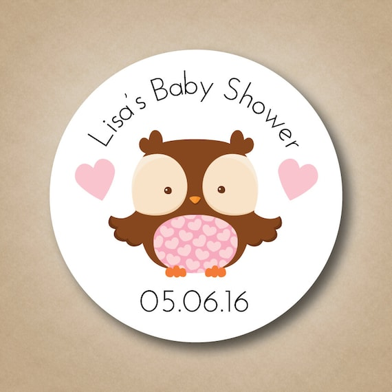 Owl Baby Shower Favor Stickers Personalized Baby Shower Favor Labels