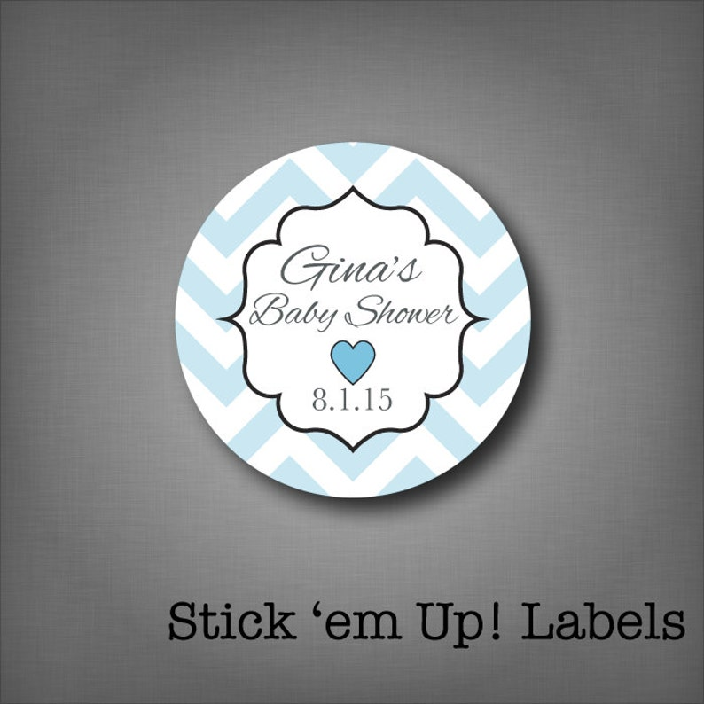 Personalized Baby Shower Favor Stickers  Blue It's a Boy image 0