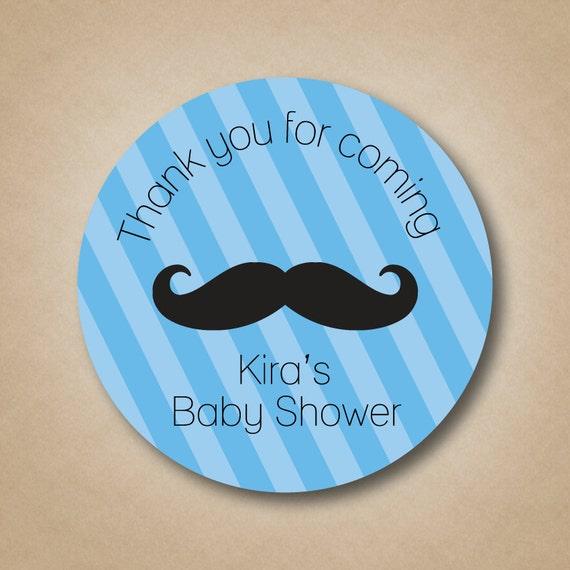 30 Lil/' Man Mustache Baby Shower Invitation Favor White Stickers
