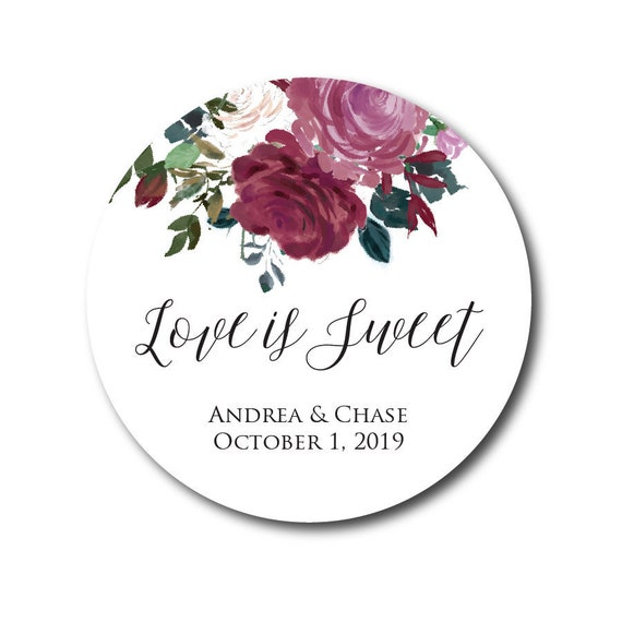 Wedding Stickers Wedding Favor Stickers Love Is Sweet Stickers Thank