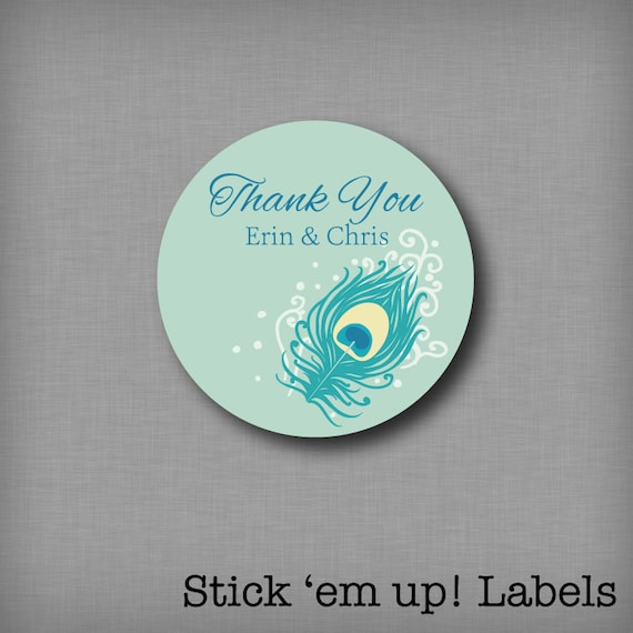 94668334a97dd Custom Thank You Stickers For Peacock Wedding Favors, Bridal Shower ...