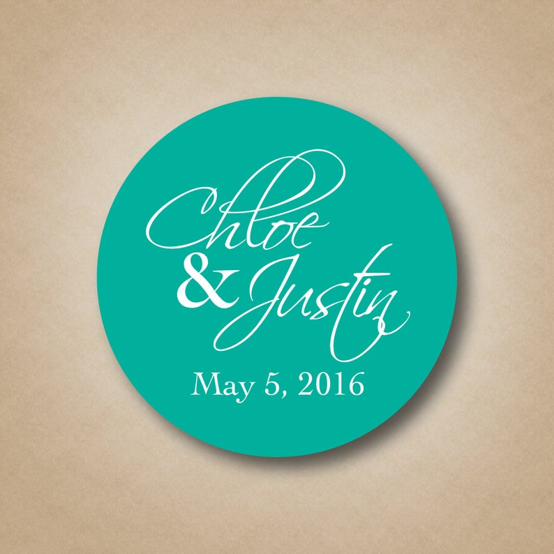 Wedding Stickers Wedding Favor Stickers Names and Date Custom image 0