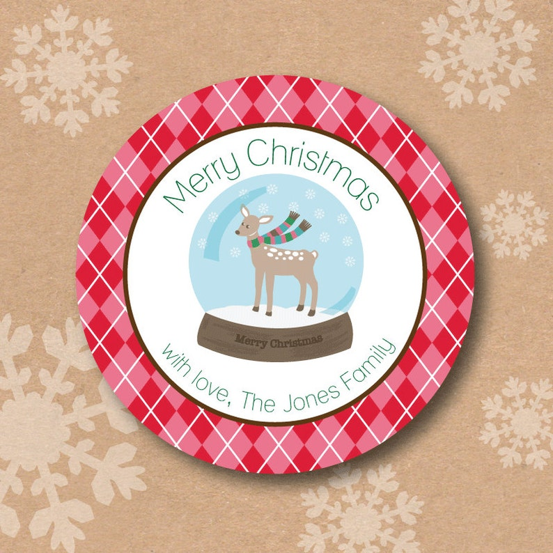 Christmas Sticker Labels Winter Deer Christmas Tree Gift Label image 0