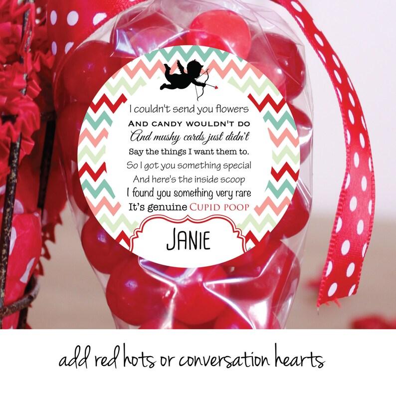 Cupid Poop Personalized Valentine Favor Stickers Custom image 0