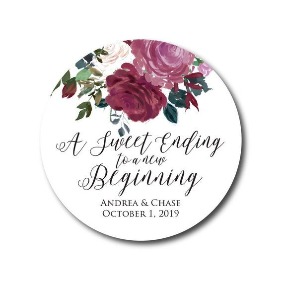 Wedding Stickers Wedding Favor Stickers Sweet Ending Stickers Thank