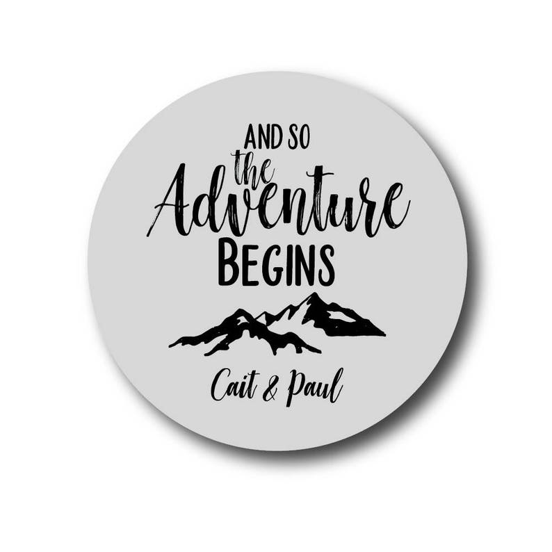 And so the Adventure Begins Sticker Rustic Wedding Stickers image 0