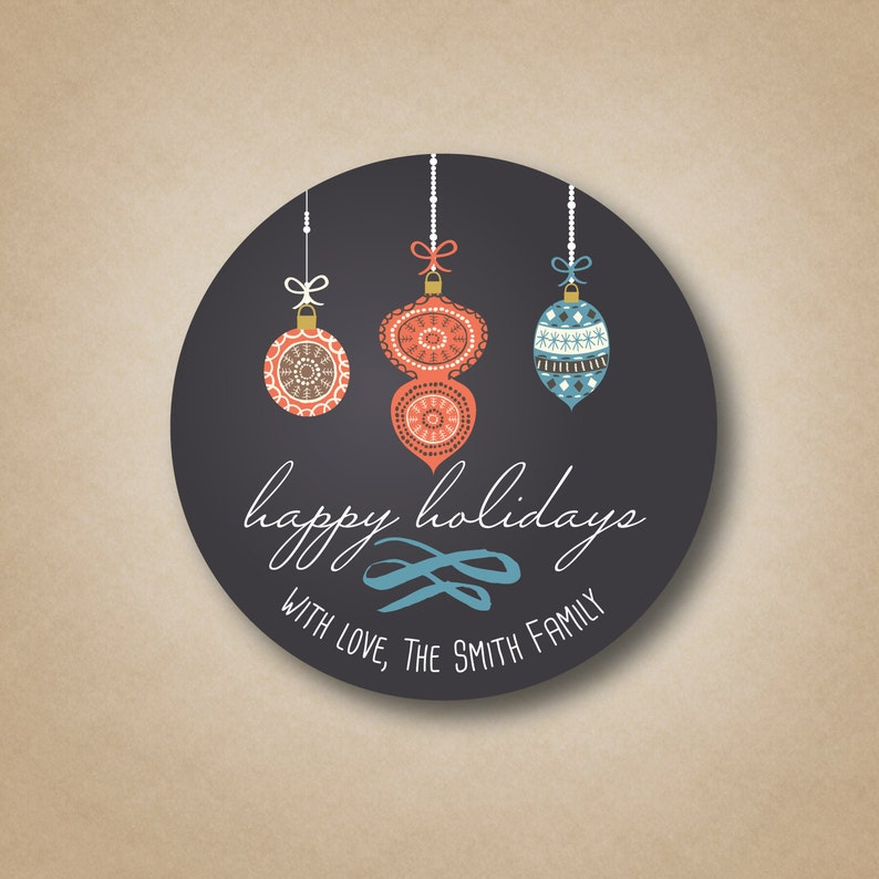 Holiday Gift Labels Chalkboard Ornaments Christmas Stickers image 0