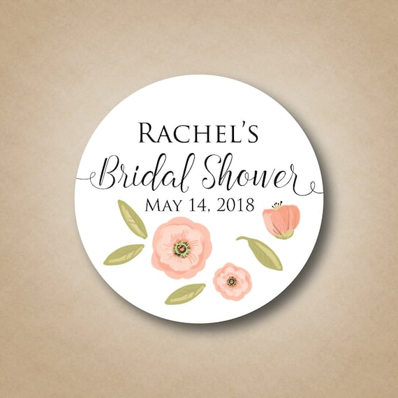 custom floral bridal shower labels poppy flower wedding shower stickers personalized shower favor tags watercolor blush pink decoration idea