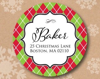 Return Address Label Christmas Address Labels Red and Green Argyle Stickers Round Christmas Card Envelope Seals