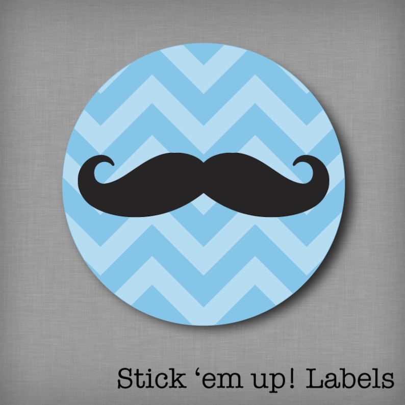 Gender Reveal Party Stickers Mustache and Bow Labels for Voting on Baby Chevron Sticker