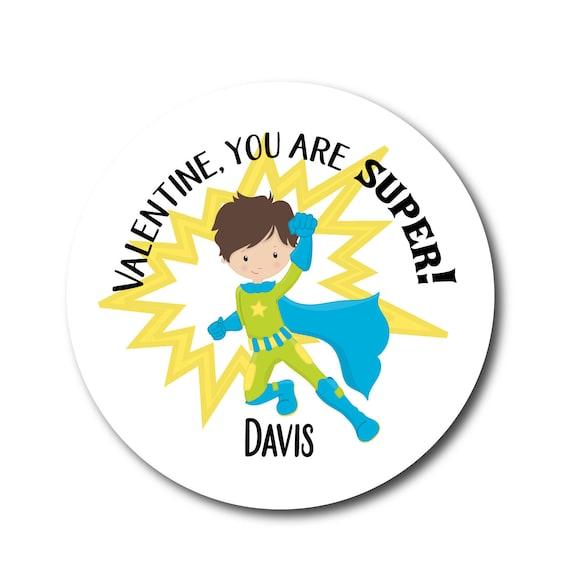 Valentines Day Boys Super Hero Sticker Labels