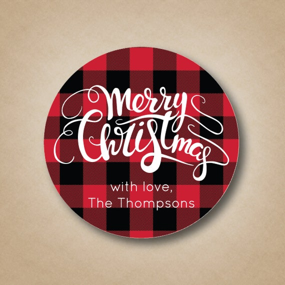 Plaid gift stickers. Holiday decor inspiration with plaid, checks, and tartans! Come be inspired by this classic pattern for Christmas decorating. #plaid #christmasdecor #holidayinspiration #checks #decorating #inspiration