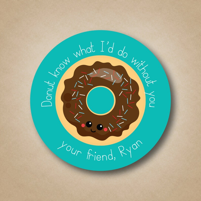 Valentine Stickers Donut What I'd Do Without You Boys image 0
