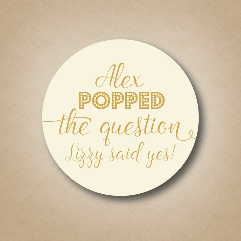 Popped the Question Stickers Popcorn Favor Labels Pop the image 0