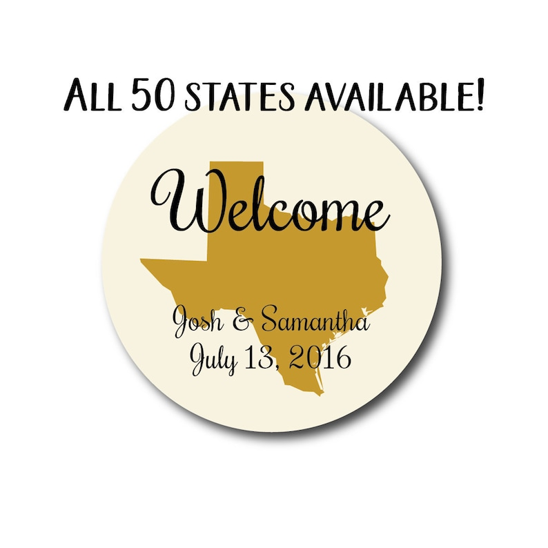 Wedding Welcome Stickers State Sticker Wedding Welcome Bag image 0