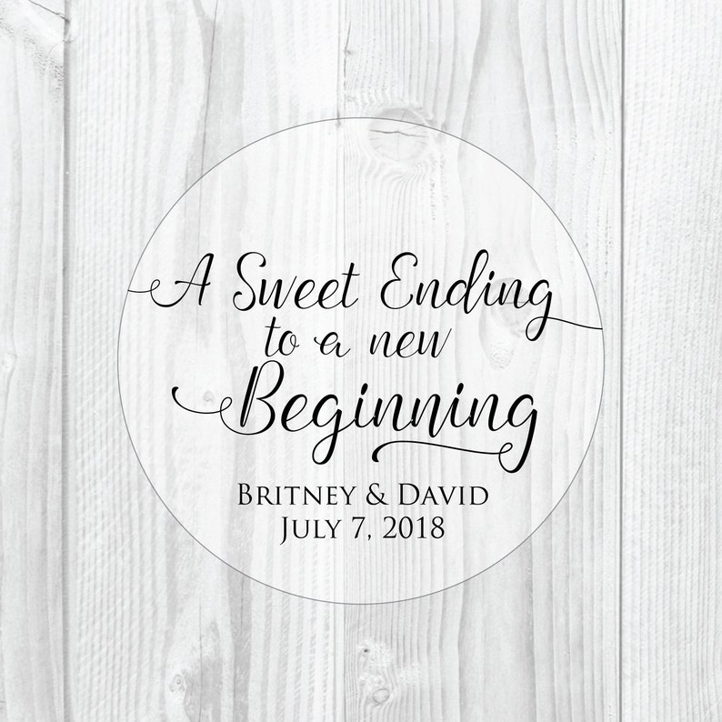 A Sweet Ending to a New Beginning Wedding Favor Stickers Clear image 0