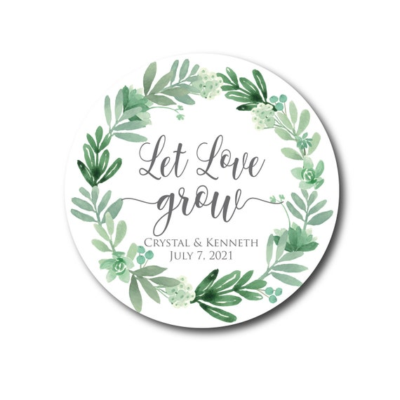 Wedding guestgift stickers labels self-adhesive vintage wedding decoration 50 Stickers Boho Wedding Let our love grow!