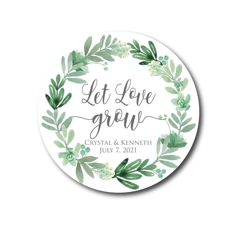 Let Love Grow Stickers Succulent Wedding Favors Wedding image 0