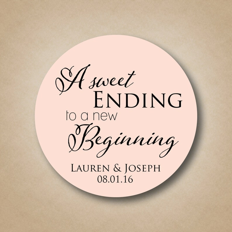 A Sweet Ending to a New Beginning Personalized Wedding Favor image 0