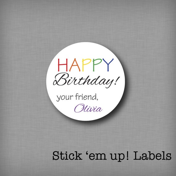 Personalized Birthday Stickers Kids Gift Tags Present Labels Rainbow Happy Sticker