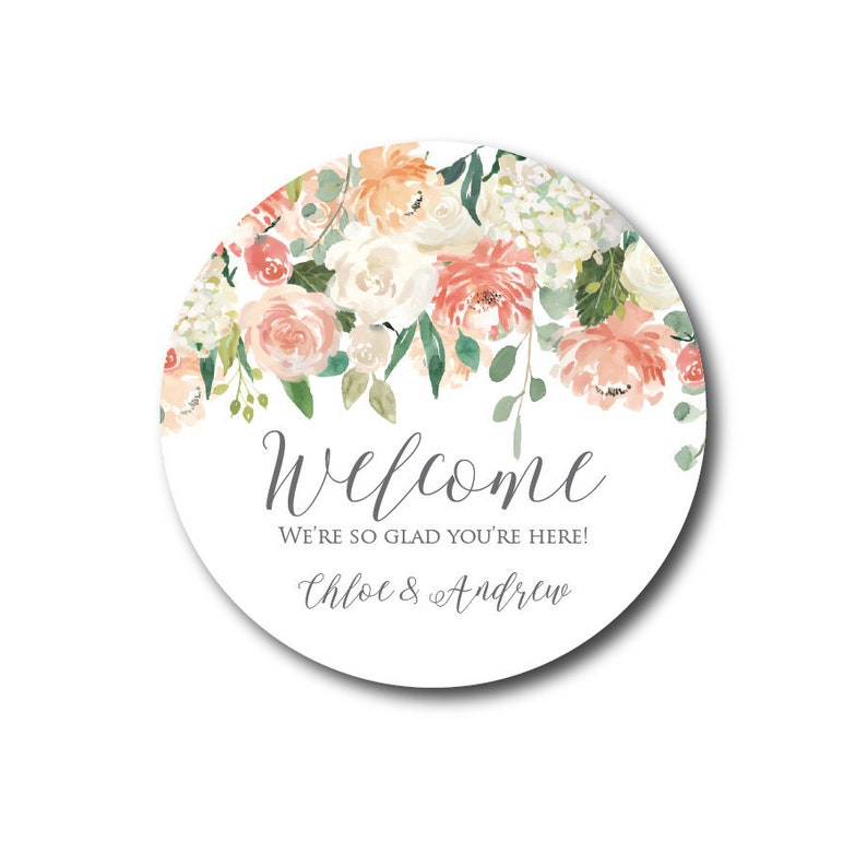 Wedding Stickers Wedding Welcome Stickers Welcome Labels Peach image 0