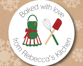 Kitchen Stickers Personalized Baked with Love Treat Labels for Baked Goods and Christmas Cookies Gifts for Cooks From the Kitchen of