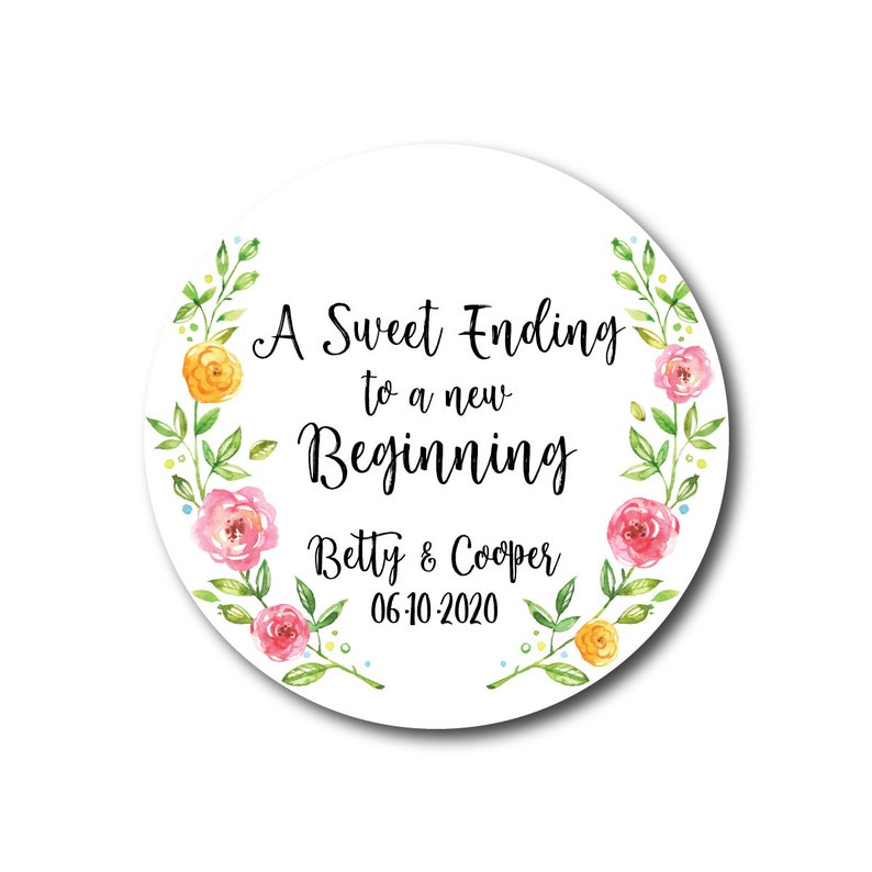 A Sweet Ending to a new Beginning Stickers Wedding Favor image 0