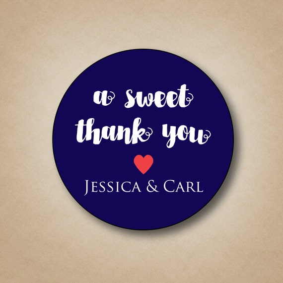 A Sweet Thank You Wedding Stickers Custom Favor Labels Wedding Tags Thank You Stickers Watercolor Font Round Labels Custom Favor Box Sticker By Stick Em Up Labels Catch My Party