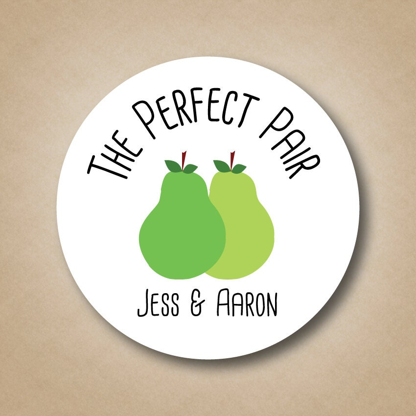 The Perfect Pear Favor Stickers Perfect Pair Wedding Favor Etsy