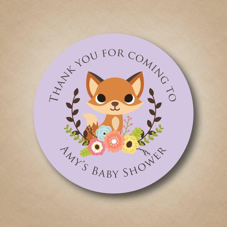 Fox Baby Shower Favor Stickers Woodland Animals Baby Shower image 0