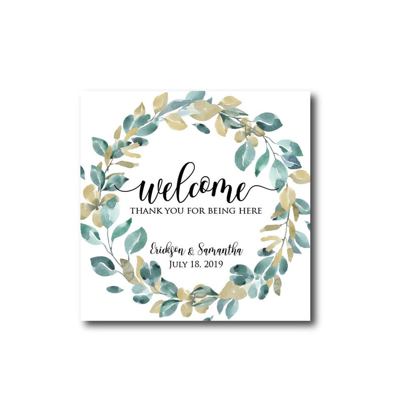 Wedding Welcome Labels Welcome Bag Stickers Out of Town Guests image 0