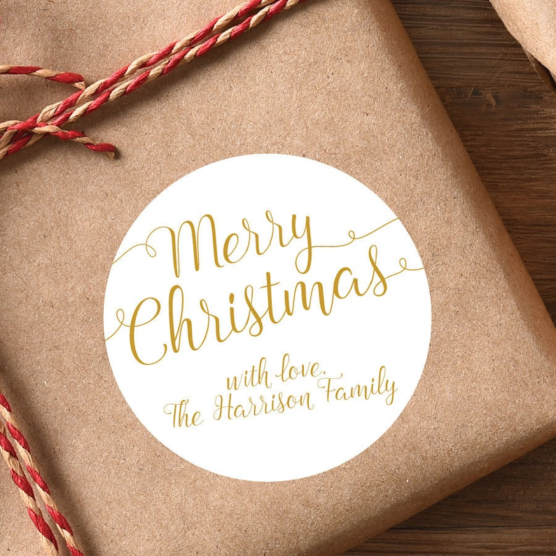 Gold Christmas Gift Labels Christmas Stickers Christmas Gift image 0