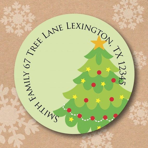 christmas address labels return address labels personalized tree