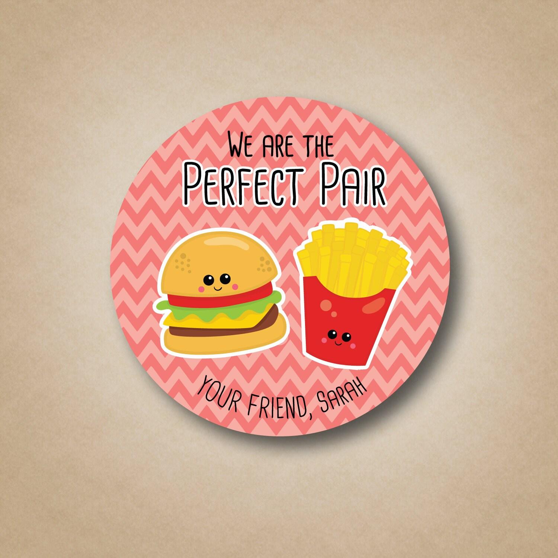Valentine Stickers Girls Valentine Card Label The Perfect Pair   Etsy