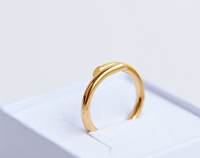 DOUBLE TROUBLE ring solid 18kt gold - made to order