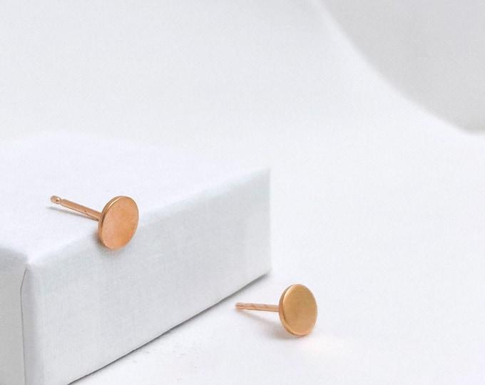 BASIC earrings pinkgold DOT satin - round rose goldplated earrings