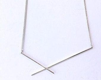 FRACTURE Silver necklace, minimalist necklace, line neklace 'Fracture'