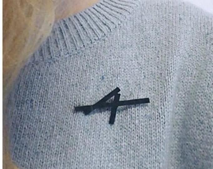 Black brooch, oxidized silver minimalist brooch pin, unisex - PRE-ORDER